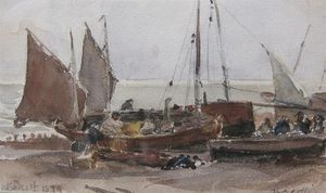 Thomas Collier - Beached Boats On The Sussex Co..
