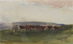 Thomas Collier - Cattle And Drovers On A Moorla..