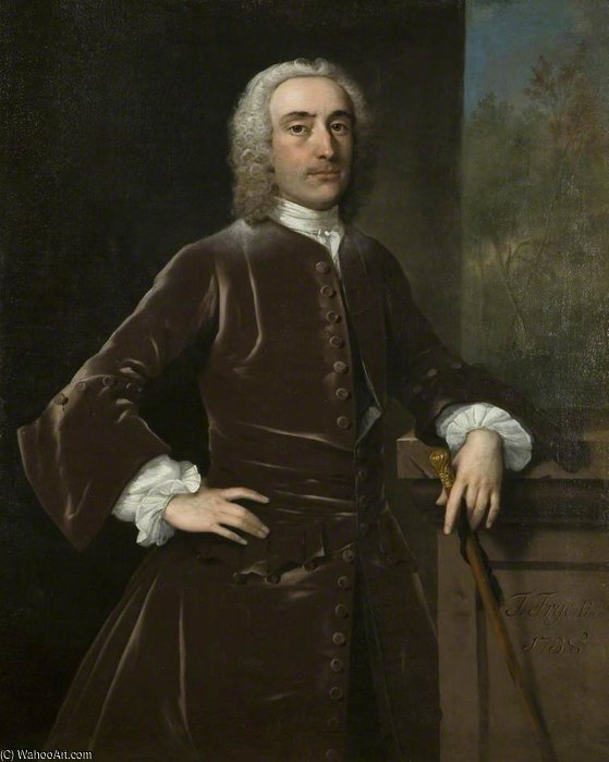 Portrait Of An Unknown Man by Thomas Frye (1710-1762, Ireland)