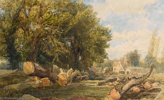 Storing Timber Near Arundel by Thomas Collier (1620-1691, United Kingdom)