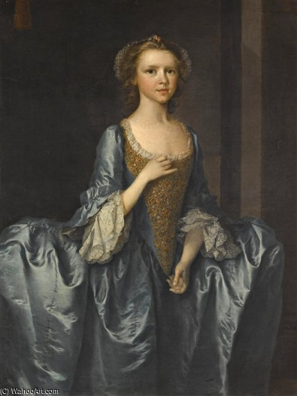 Portrait Of Mrs. Hibbert by Thomas Frye (1710-1762, Ireland)