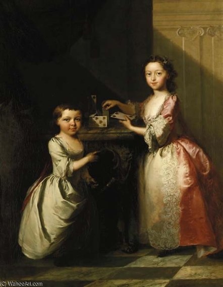 Portrait Of Two Young Children by Thomas Frye (1710-1762, Ireland)