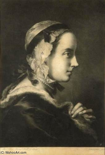 Young Woman In Profile With Cap And Necklace by Thomas Frye (1710-1762, Ireland)