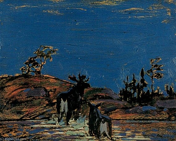 Order Museum Quality Reproductions : Moose At Night by Thomas Thompson (1877-1917, Canada) | ArtsDot.com