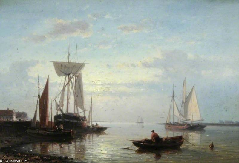 Buy Museum Art Reproductions : Coastal Scene With Beached Vessels, Evening by Abraham Hulk Senior (1813-1897, Netherlands) | ArtsDot.com