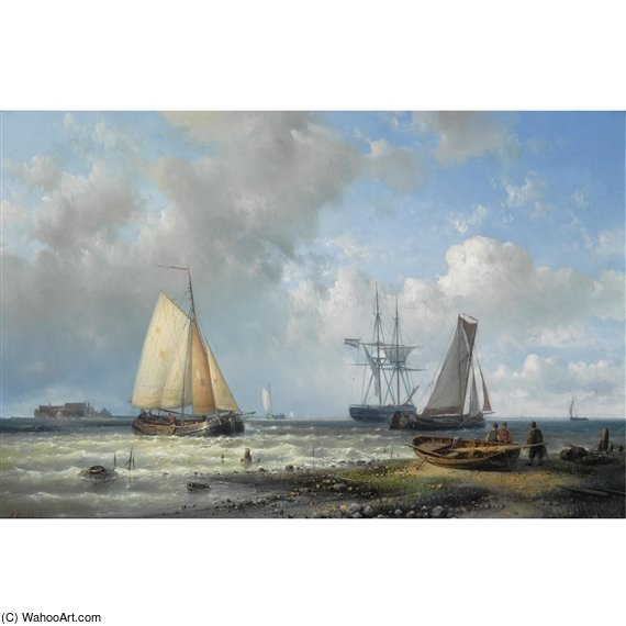 Dutch Barges In A Calm by Abraham Hulk Senior (1813-1897, Netherlands) | Museum Quality Reproductions | ArtsDot.com