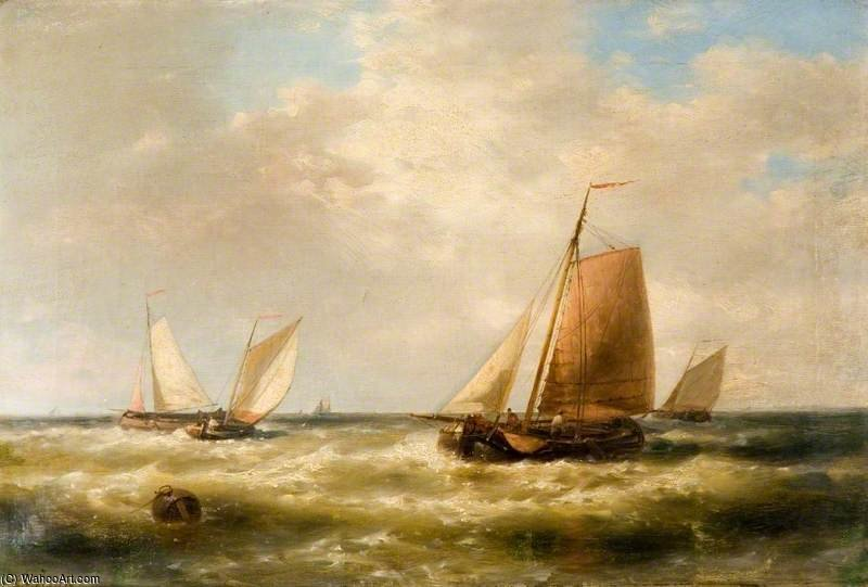 Order Art Reproduction : Dutch Fishing Boats by Abraham Hulk Senior (1813-1897, Netherlands) | ArtsDot.com