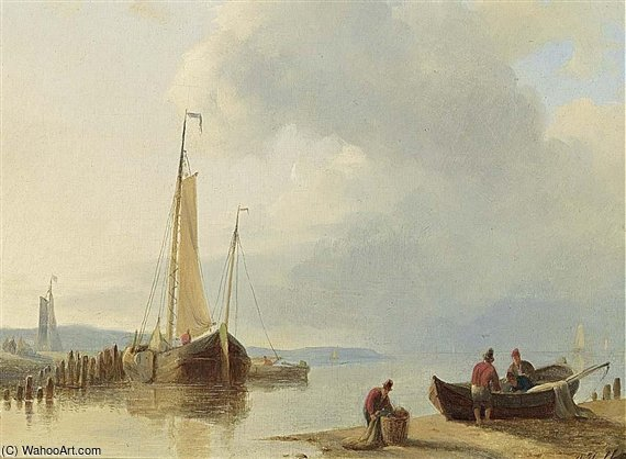 Fishermen Bringing In The Nets by Abraham Hulk Senior (1813-1897, Netherlands) | Painting Copy | ArtsDot.com
