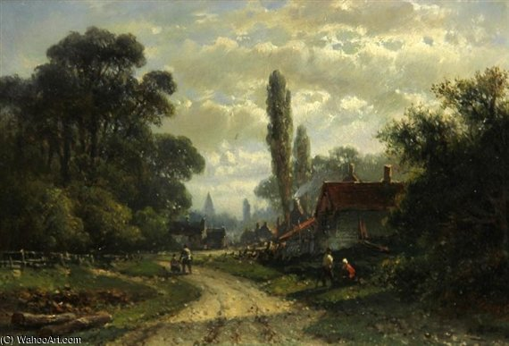 On The Outskirts Of A Dutch Town by Abraham Hulk Senior (1813-1897, Netherlands) | Museum Quality Copies Abraham Hulk Senior | ArtsDot.com
