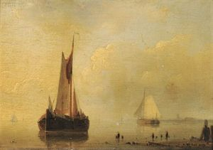 Abraham Hulk Senior - Sailing Boats In A Calm And Sailing Boats Off The Coast In A Stiff Breeze