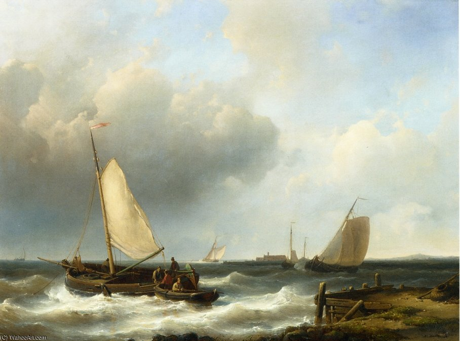 Shipping Of The Dutch Coast by Abraham Hulk Senior (1813-1897, Netherlands) | Museum Art Reproductions | ArtsDot.com