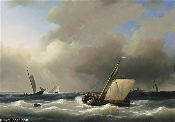 Shipping Off The Shore In High Winds by Abraham Hulk Senior (1813-1897, Netherlands) | Museum Art Reproductions | ArtsDot.com