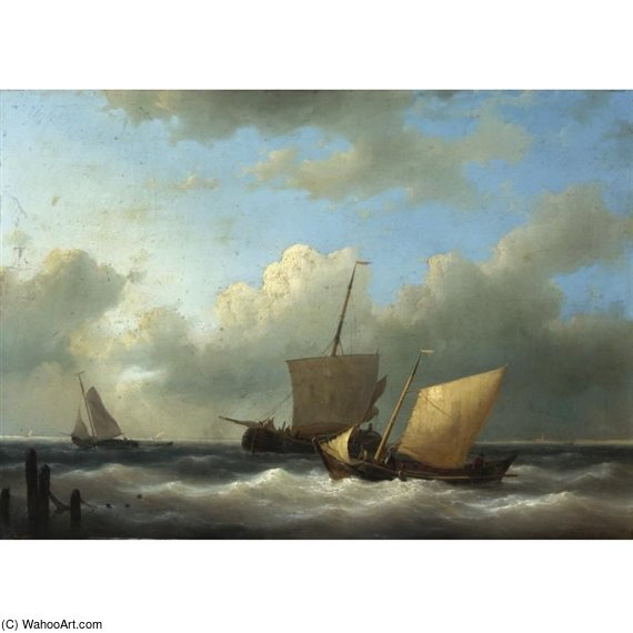 Ships At Sea by Abraham Hulk Senior (1813-1897, Netherlands) | Art Reproduction | ArtsDot.com