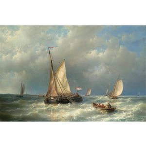 Abraham Hulk Senior - Stormy Sea With Ships