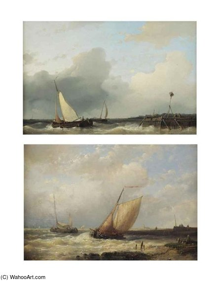 Two Dutch `platbodems` Shipping Off The Coast by Abraham Hulk Senior (1813-1897, Netherlands) | Painting Copy | ArtsDot.com