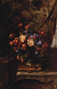 Alexandre Rene Veron - A Vase Of Mixed Flowers O..