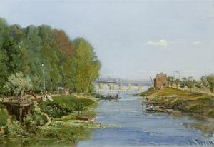 Alexandre Rene Veron - A View By The River Seine