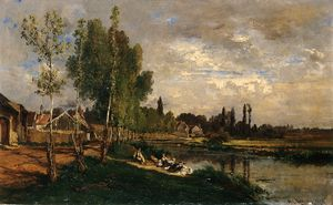 Alexandre Rene Veron - Washerwomen By The Water ..
