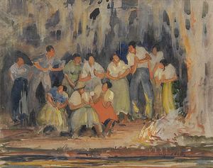 Alfred Heber Hutty - Around The Campfire