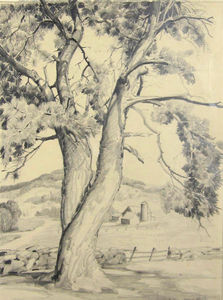 Alfred Heber Hutty - Pine With Farm And Fence