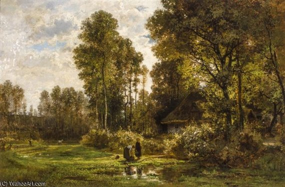 After The Rain by Cesar De Cock (1823-1904, Belgium)