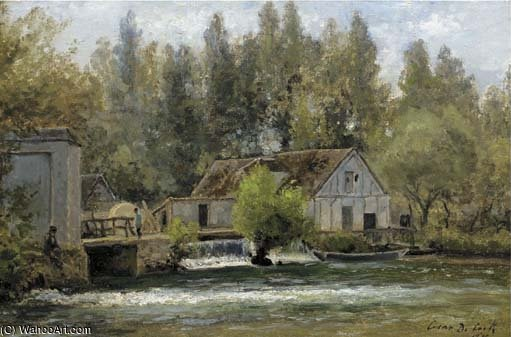 Fishermen By A Watermill by Cesar De Cock (1823-1904, Belgium)