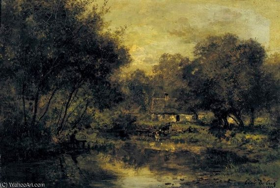Landscape With Cottage by Cesar De Cock (1823-1904, Belgium)