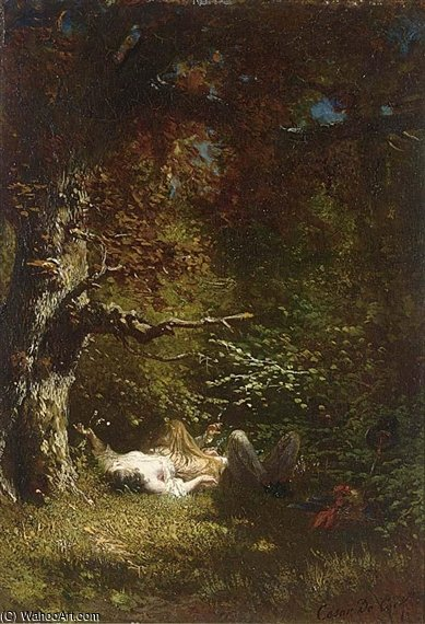 Lovers In The Forest by Cesar De Cock (1823-1904, Belgium)