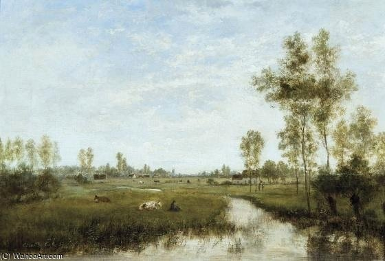 Summerscape With Shepherd Boy by Cesar De Cock (1823-1904, Belgium)