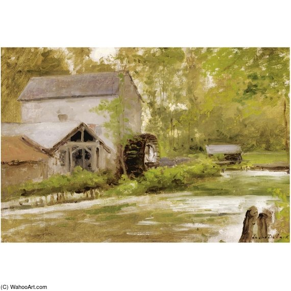 The Old Watermill by Cesar De Cock (1823-1904, Belgium)