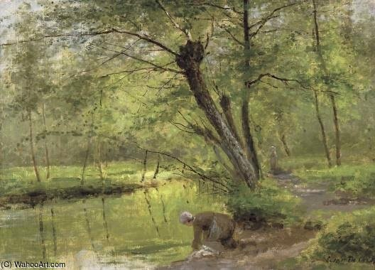 Washerwoman Near The Epte At Gasny by Cesar De Cock (1823-1904, Belgium)