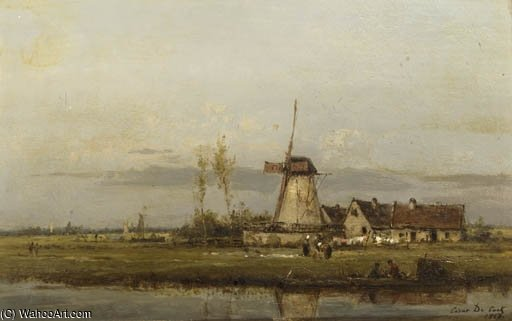 Washerwomen At Work By A Windmill by Cesar De Cock (1823-1904, Belgium)