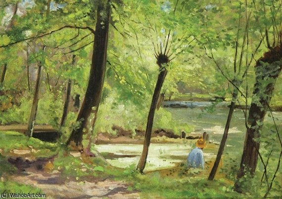 Wooded Landscape In Gasny-sur-epte With The Artist At Work by Cesar De Cock (1823-1904, Belgium)