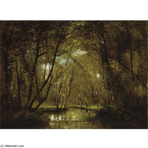 Wooded Riverscape With Figures by Cesar De Cock (1823-1904, Belgium)