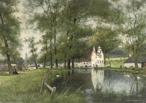 A Sunny Afternoon In Sonsbeek Near Arnhem by Cornelis Christiaan Dommelshuizen (1842-1928, Netherlands)