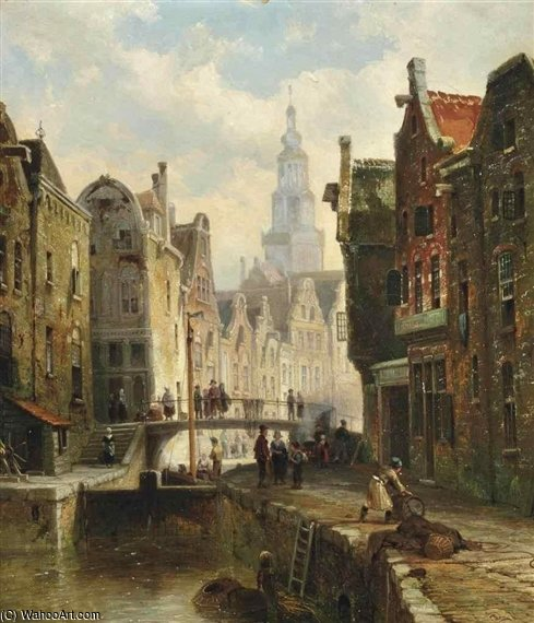 A Townview With Figures by Cornelis Christiaan Dommelshuizen (1842-1928, Netherlands)