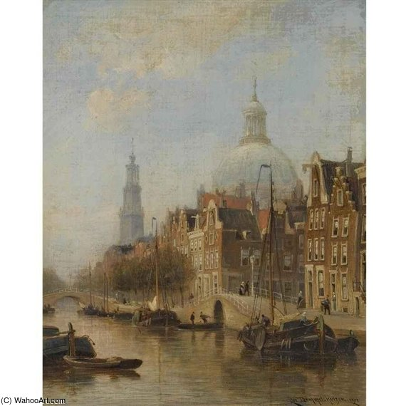 A View Of An Amsterdam Canal by Cornelis Christiaan Dommelshuizen (1842-1928, Netherlands) | Art Reproduction | ArtsDot.com
