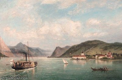 A View Of Ort Castle On The Traun See by Cornelis Christiaan Dommelshuizen (1842-1928, Netherlands)