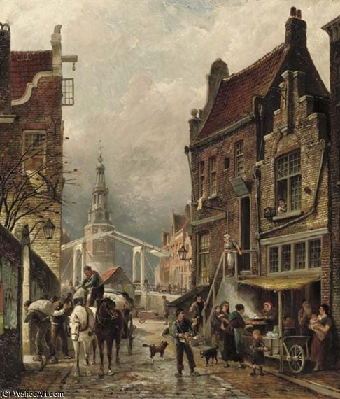 A View Of The Jewish Quarter With The Oudeschans And The Montelbaanstoren by Cornelis Christiaan Dommelshuizen (1842-1928, Netherlands)