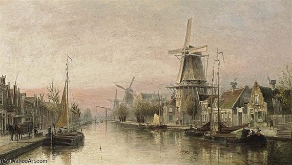 A View Of The Overtoom, Amsterdam by Cornelis Christiaan Dommelshuizen (1842-1928, Netherlands)