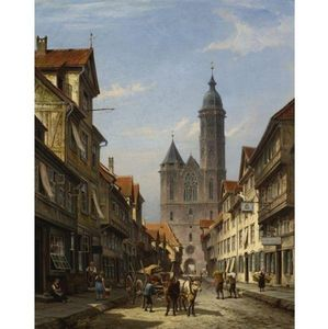 Cornelis Christiaan Dommelshui.. - Dutch Street Scene With Cathed..