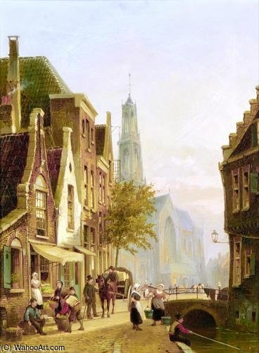Dutch Street Scene by Cornelis Christiaan Dommelshuizen (1842-1928, Netherlands)