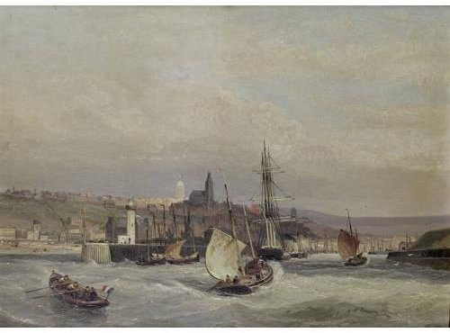 Entrance To The Harbour Of Boulogne by Cornelis Christiaan Dommelshuizen (1842-1928, Netherlands)