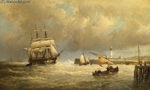 Entrance To The Harbour Of Hellevoetsluis by Cornelis Christiaan Dommelshuizen (1842-1928, Netherlands)