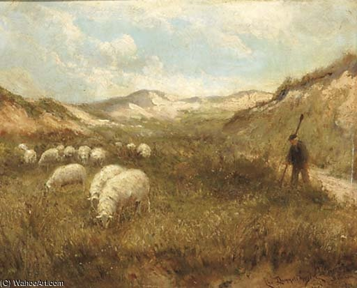 Guiding The Flock Through The Dunes by Cornelis Christiaan Dommelshuizen (1842-1928, Netherlands)