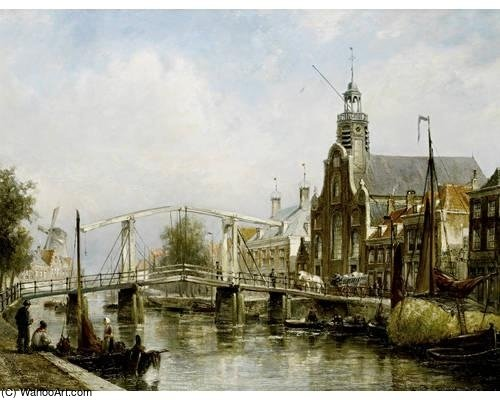 Pelgrimsvaderskerk On The Aalbrechtskolk In Delfshaven, by Cornelis Christiaan Dommelshuizen (1842-1928, Netherlands)