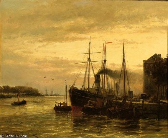 Ships In An Inner Harbour At Sunset by Cornelis Christiaan Dommelshuizen (1842-1928, Netherlands)
