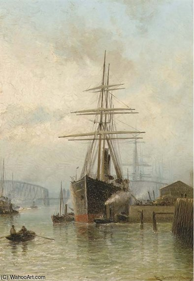 The Bustling Port Of Rotterdam by Cornelis Christiaan Dommelshuizen (1842-1928, Netherlands)