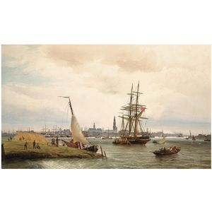 Cornelis Christiaan Dommelshui.. - The Harbour Of Antwerp With A ..