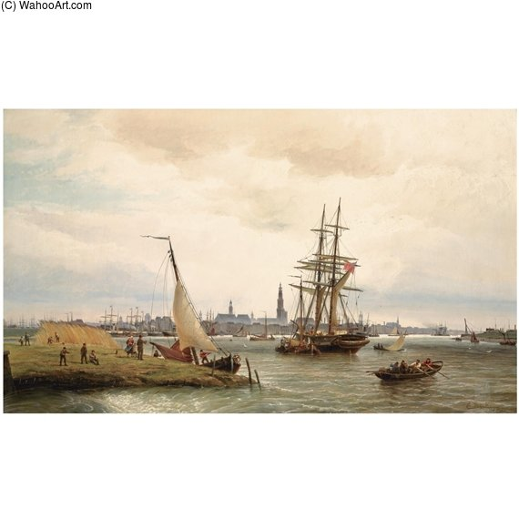 The Harbour Of Antwerp With A View From The Left Bank Over The River Scheldt And The Onze Lieve Vrouw Cathedral In The Background by Cornelis Christiaan Dommelshuizen (1842-1928, Netherlands) | Museum Art Reproductions | ArtsDot.com